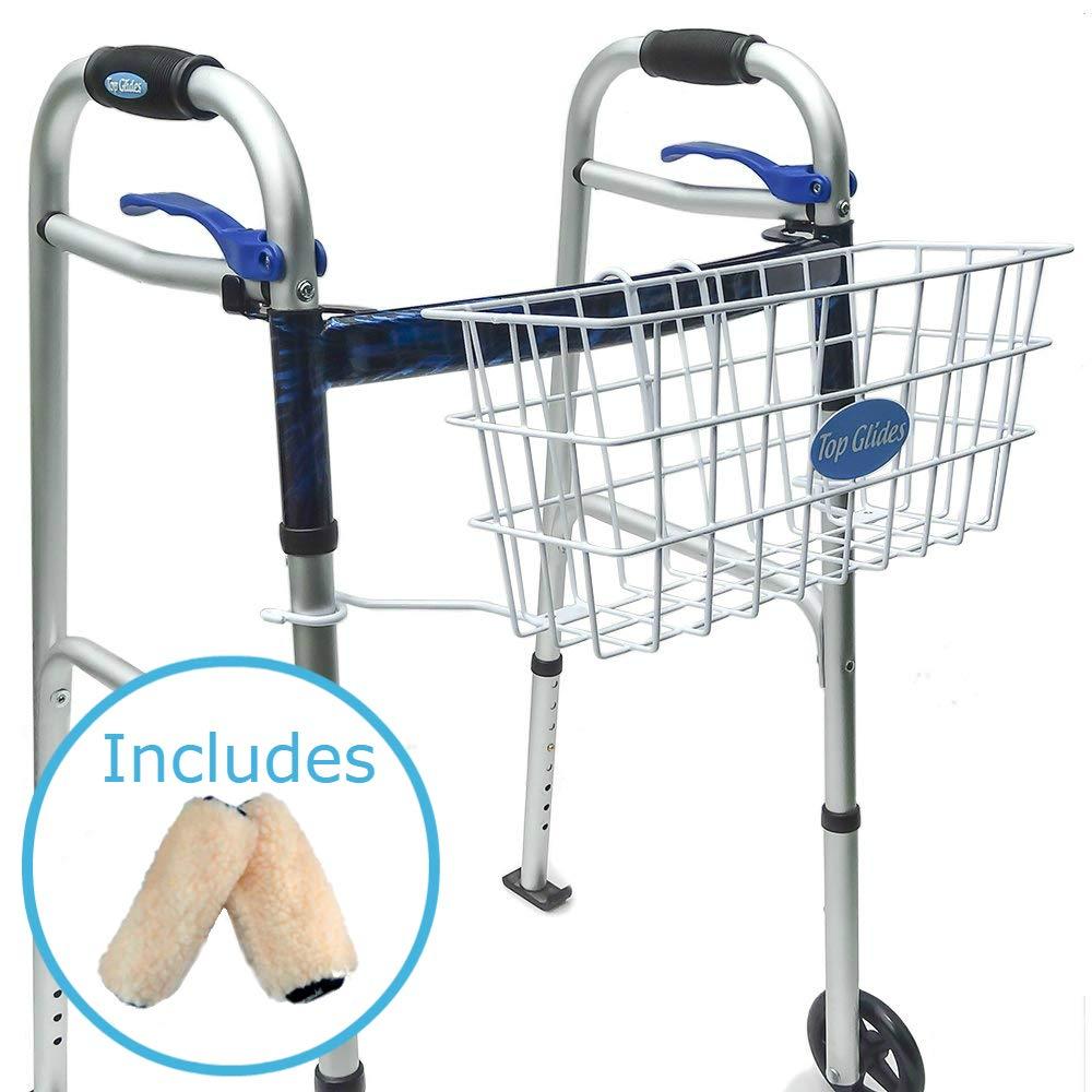 Bundle: Premium Clip-on Walker Basket with Bonus PlushGrips by Top Glides