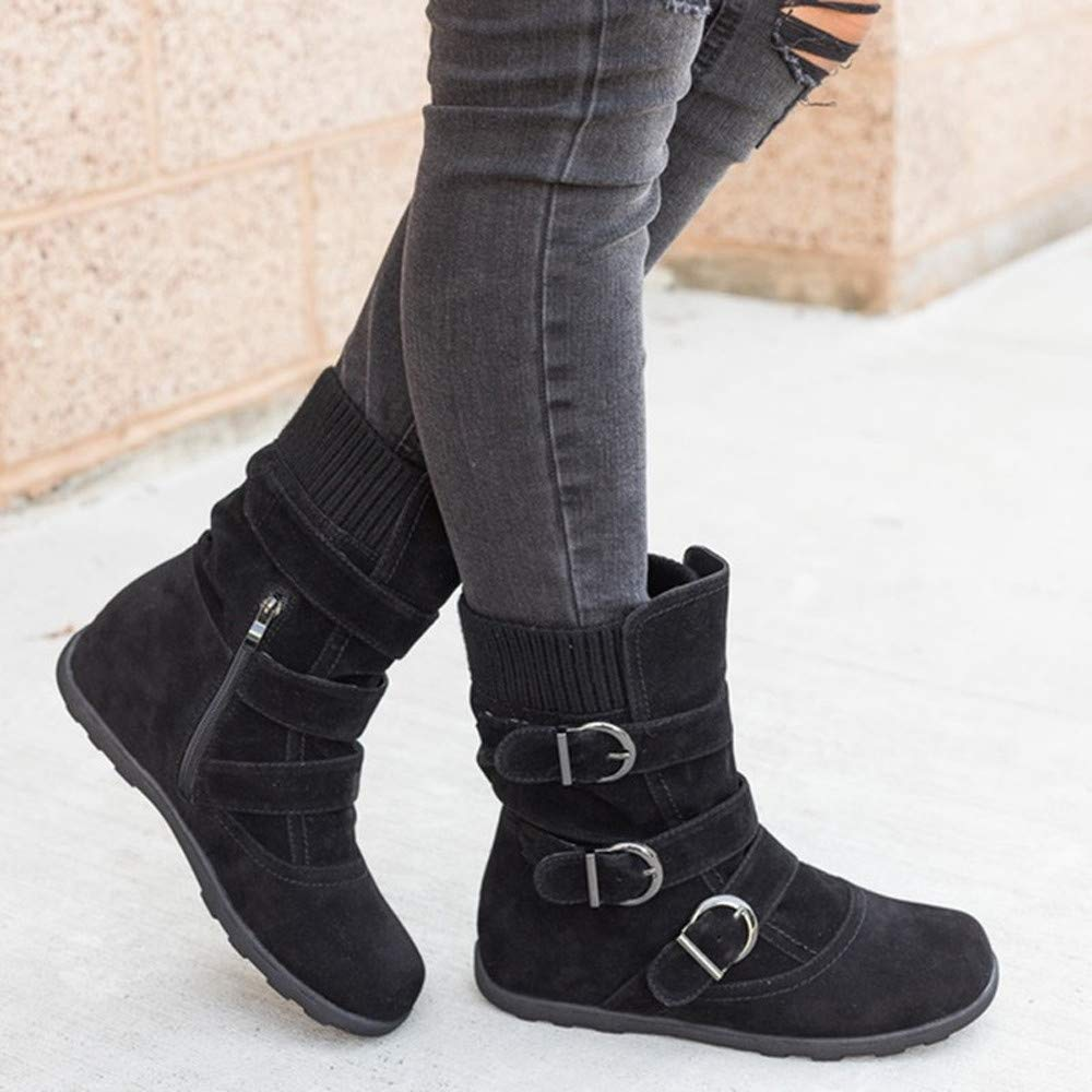 Frunalte shoes Women Boots Soft Flat Booties Ankle Bootie Womens Buckle Strap Keep Warm Snow Boots Ankle Boots