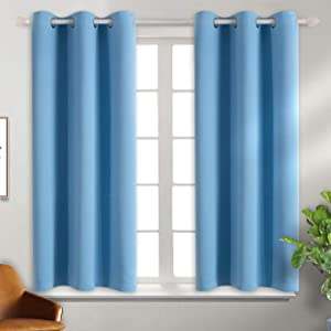 BGment Blackout Curtains - Grommet Thermal Insulated Room Darkening Bedroom and Living Room Curtain, Set of 2 Panels (38 x 54 Inch, Sky Blue)