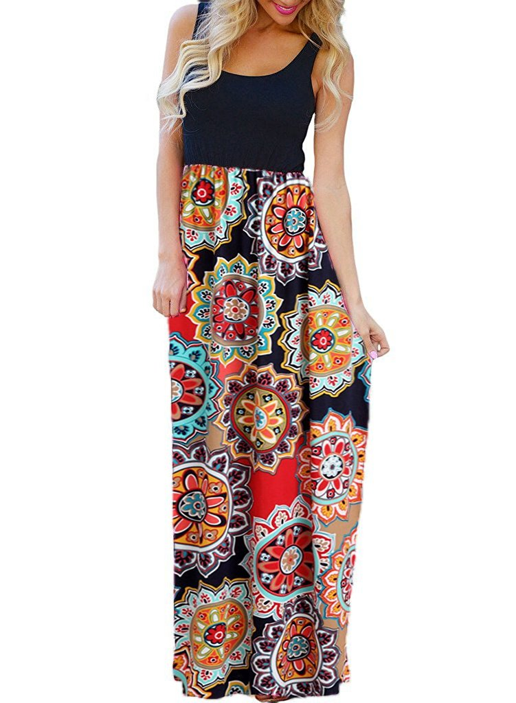 OURS Women's Summer Ethnic Style Floral Print Bohemian Sleeveless Tank Dresses Beach Long Maxi Dresses (Y-Pattern2, M)