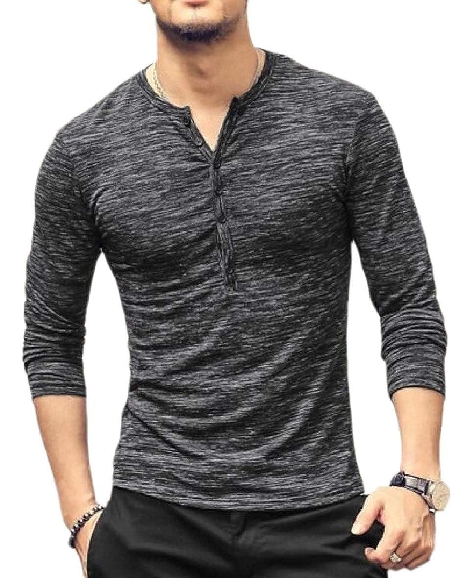 RRINSINS Mens Burnout Plain Button Henley Long Sleeves Stretchy Top T Shirts