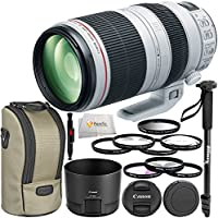 "Canon EF 100-400mm f/4.5-5.6L IS II USM Lens - International Version (No Warranty) + 3 Piece Filter Kit + 4 Piece Macro Close-Up Filter Kit + UV Filter + 72"" Monopod with Quick Release & More!"