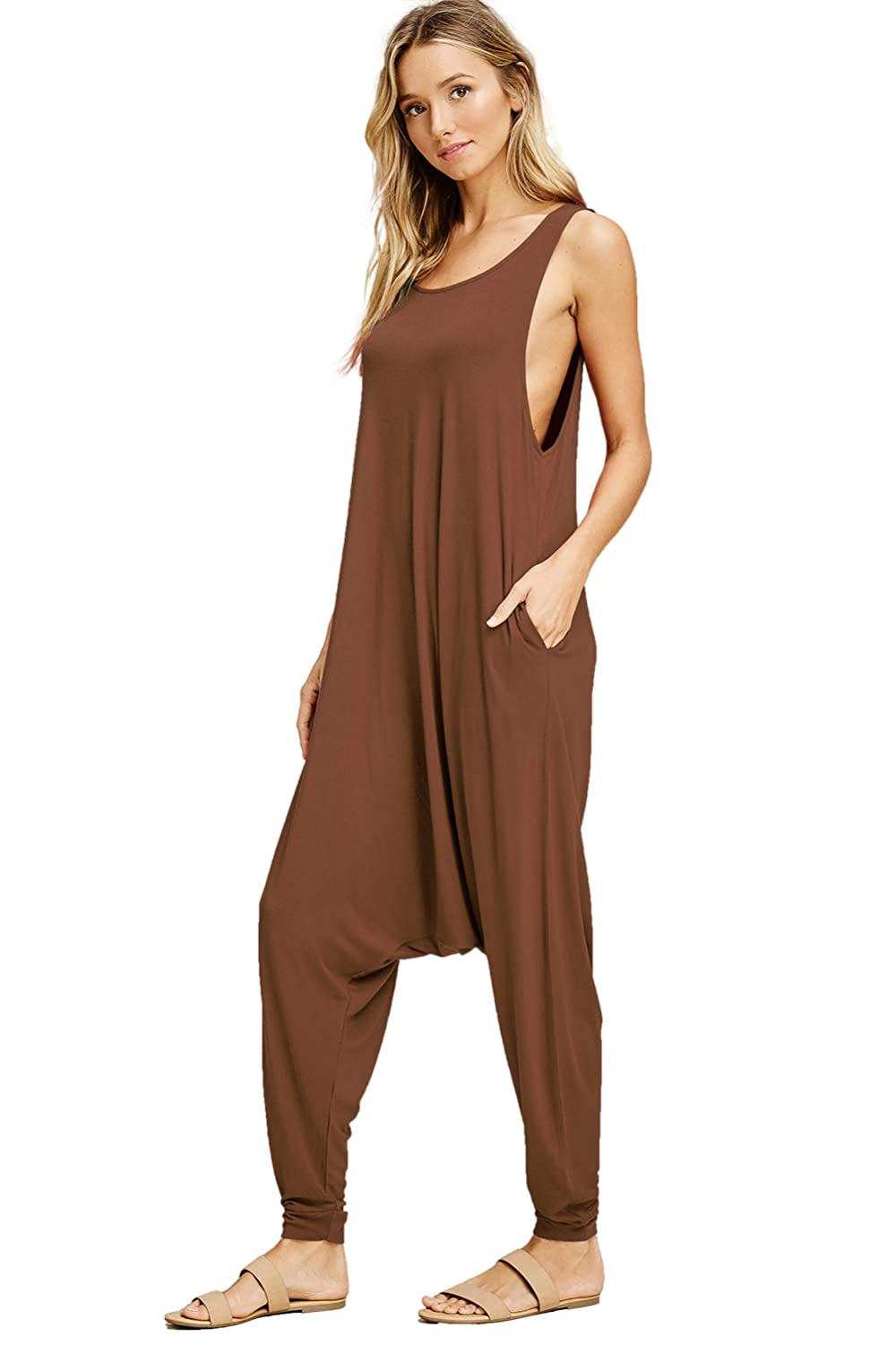 3cced468b95 Amazon.com  Annabelle Women s Solid Harem Pant Sleeveless Pocket Harem Pant  Jumpsuit  Clothing