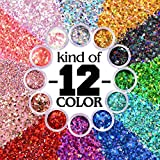 Warmfits Holographic Chunky Glitter 12 Colors Total 120g Face Body Eye Hair Nail Festival Chunky Holographic Glitter Different Size, Stars and Hexagons Shaped