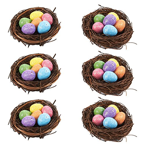 6 Pack Easter Home Decorations - Sparkling Easter Eggs with Bird Nest for DIY Crafts, Table Decor, Party Decor, Multicolor, 2.5 x 1.5 x 2.5 Inches