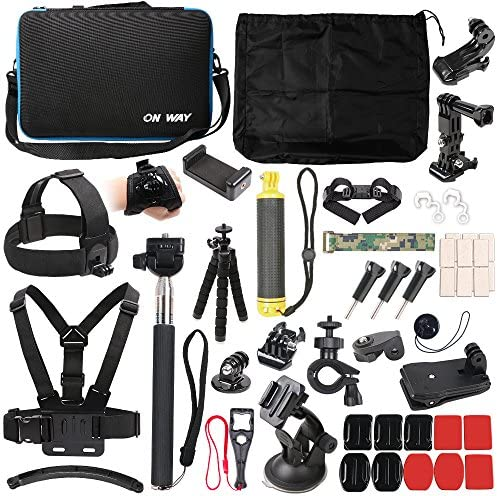 50 in 1 Basic Common Action Camera Outdoor Sports Accessories Kit for Gopro Hero 8 7 6 fusion 5 Session 4 3 2 HD HERO SJ4000 5000 6000 Xiaomi Yi AKASO APEMAN DBPOWER Sony Sports DV and More