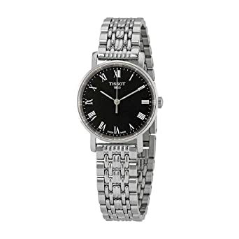 d23ad29ed25 Image Unavailable. Image not available for. Color  Tissot Everytime Lady  Stainless Steel Black Dial Watch ...