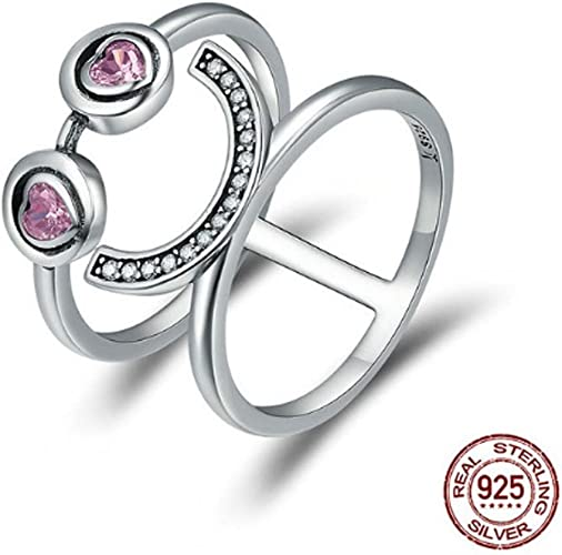 TFR Ring 925 Sterling Silver Lovely Smiling Face Emoji Rings Jewelry for Women Wedding Engagement Rings