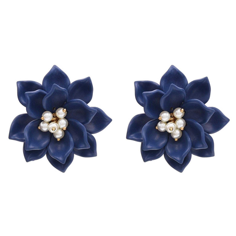 Camellia Earrings Temperament Fresh Three-dimensional White Flower Pearl Earrings,Navy blue