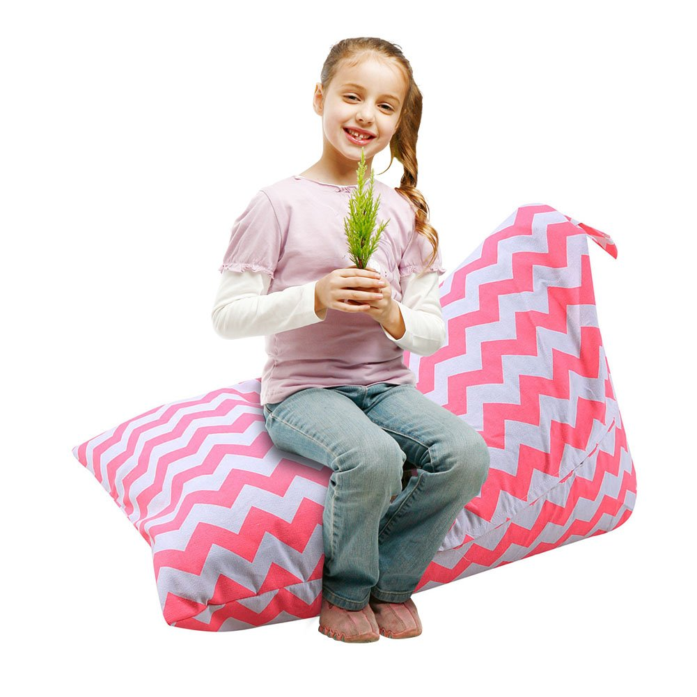 Large Capacity oft /& Comfy Cover that Creates Cozy Lounger Bed//A Samber Stuffed Animal Storage Bean Bag Chair Organizer With Handle