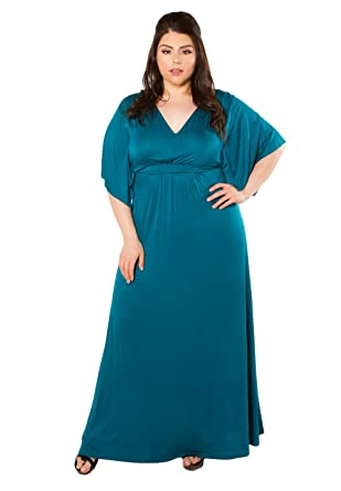 a1f897e7a4f5 SWAK Designs Womens Plus Size Short Sleeve Maxi Joan Maxi Dress - 1X blue