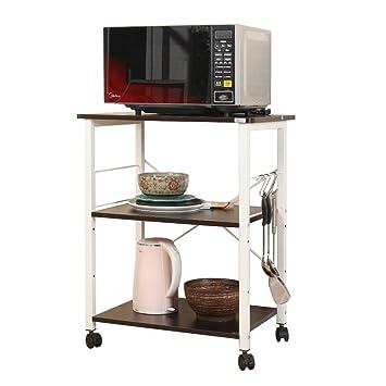 SogesHome 60 x 40 x 73 cm Horno de microondas de 3 Niveles Soporte Rack de Panadero de la Cocina Estante de la estación de Trabajo,Negro,W4-BK-SH: ...