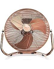 Brandson - Windmachine retro stijl 160 watt - ventilator in koper design - staande ventilator 50 cm - vloerventilator - hoge luchtdoorvoer - traploos kantelbare ventilatorkop - GS-geteste veiligheid