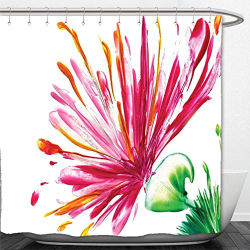 Asiatic Tiger Lily (Interestlee Shower Curtain Watercolor Flower House Decor Opened Out Asiatic Oriental Lily Freesia Florets Home Art Fuchsia Green)