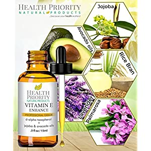 100% Natural & Organic Vitamin E Oil For Your Face & Skin, Unscented - 15000 IU - Reduces Wrinkles & Fade Dark Spots. Essential Drops Are Lighter Than Ointment. Raw Vit E Extract From Sunflower.