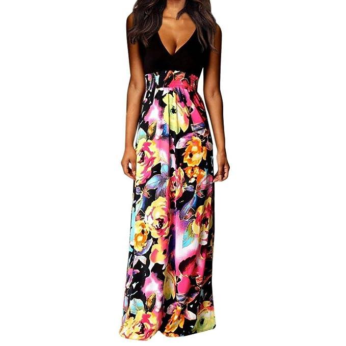 1cf2d4eab393 Women s Summer Boho V Neck Sleeveless Floral Print Tank Long Maxi Dress  (Black 2