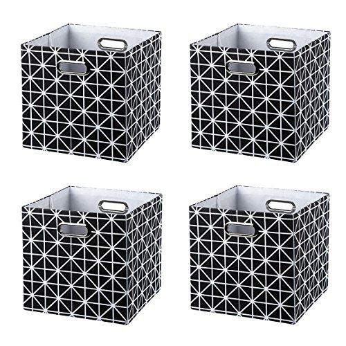 BAIST Nice Storage Bins,Square Foldable Colorful Fabric Decorative Storage Cubes Baskets for Cubby Nursery Bedroom Shelf,Set of 4