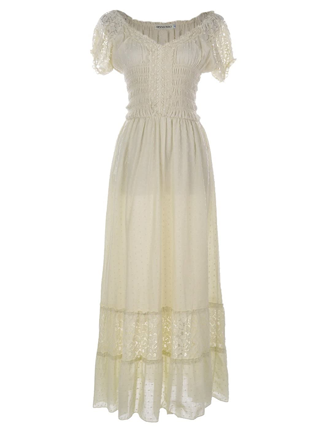 Edwardian Ladies Clothing – 1900, 1910s, Titanic Era Anna-Kaci Renaissance Peasant Maiden Boho Inspired Cap Sleeve Lace Trim Dress $39.99 AT vintagedancer.com