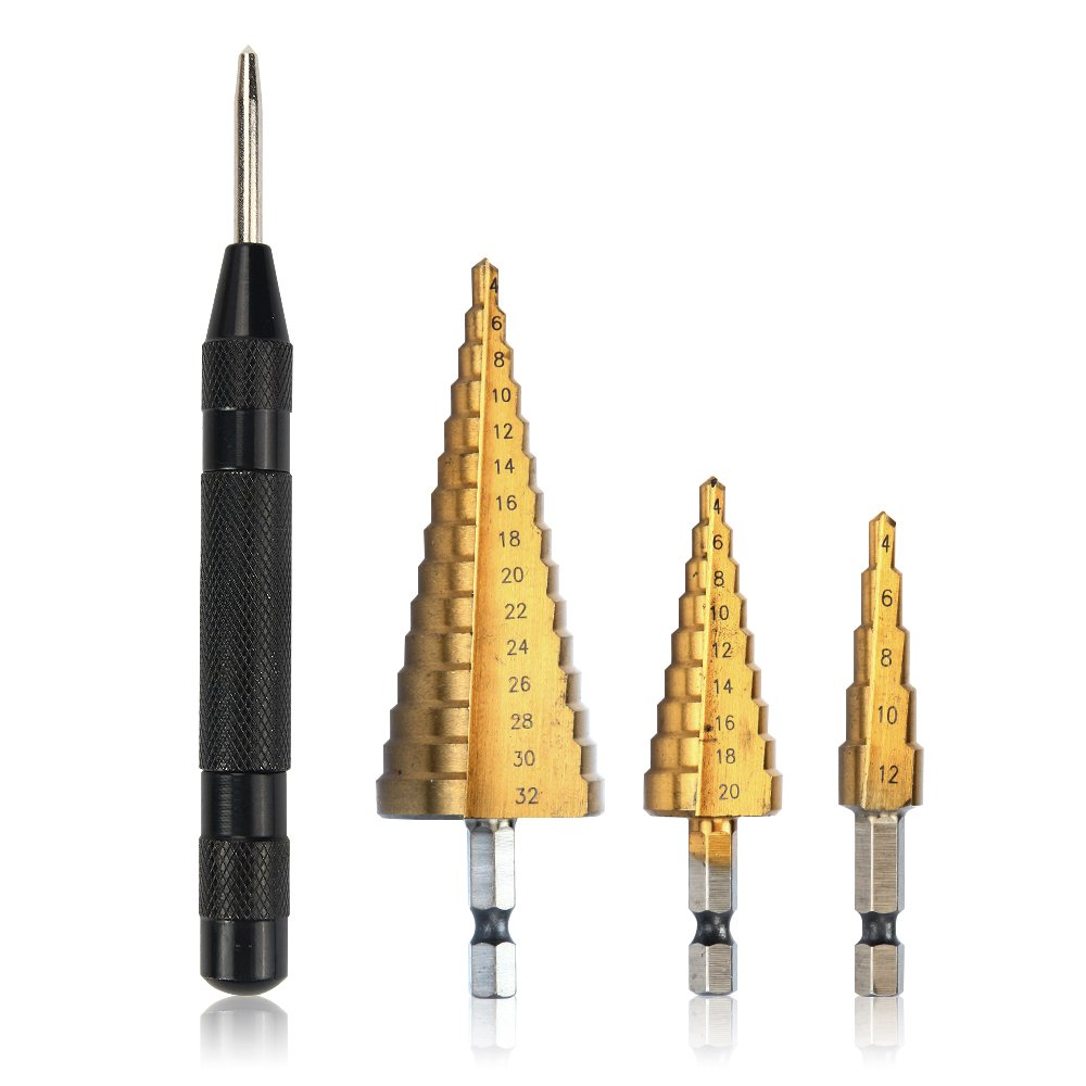 Jelbo Auto Center Punch Window Crusher 5inch and High Speed Steel HSS Titanium Coated Step Drill Bit Set, Determine Drilling Position for Steel, Wood, Plastic