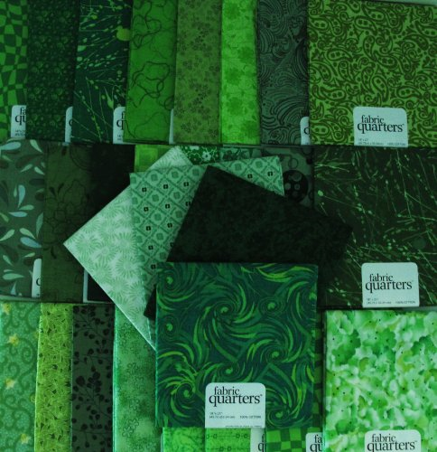 FAT QUARTER ~ Set of 10 100 % COTTON ~ GREEN ~ Quilt Fabric ~ CRAFTS ~ SEWING