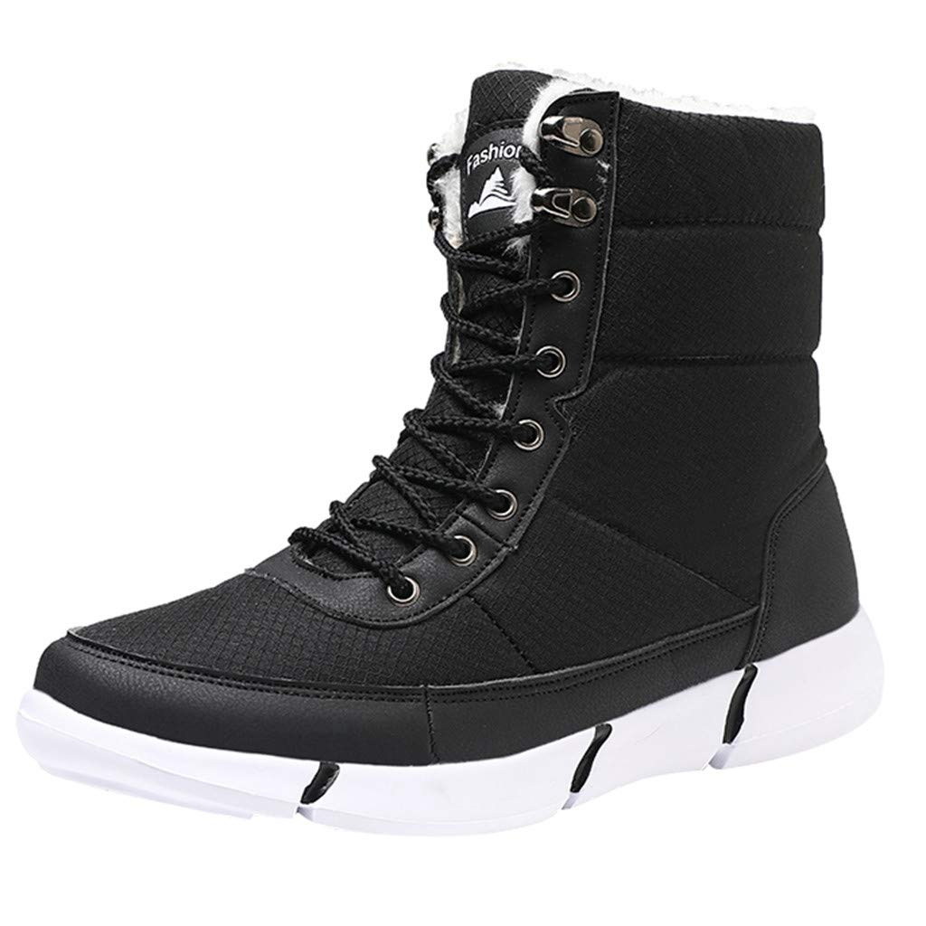 HAALIFE ◕‿ Men mesh High Top Sneaker Winter Fully Fur Warm Lined Booties Non-Slip Outdoor Snow Shoes by HAALIFE Shoes