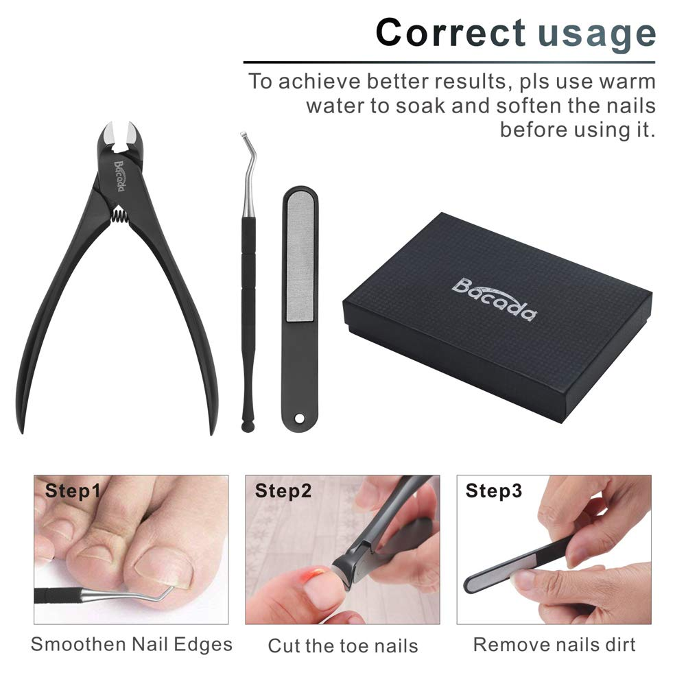 Bacada Heavy Duty Toenail Clippers for Ingrown and Thick Nails