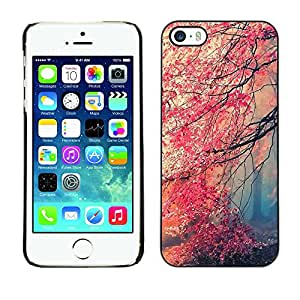 For Apple iPhone 5 / iPhone 5S Case , Fall Red Trees Forest Leaves Mystery - Diseño Patrón Teléfono Caso Cubierta Case Bumper Duro Protección Case Cover Funda