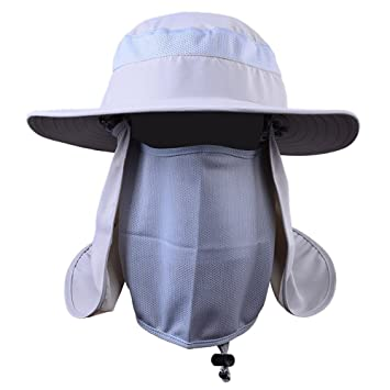 038503a39e4 YOUMU Fishing Hat Cap Face Neck Cover Flap Block Sun Burn Shade Mask Hiking  Hat Wide Brim New  Amazon.co.uk  Sports   Outdoors