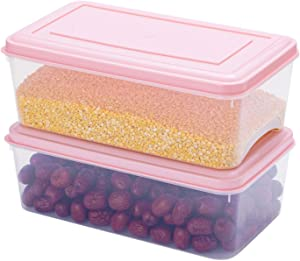 Plastic Storage Food Bins 2 Pack, 4.5 Quart Plastic Storage Containers with Lids, Stackable Plastic Organizer Boxs, Plastic Pantry Bins for Refrigerator, Freezer, Kitchen, Cabinets, Bedrooms( Pink )