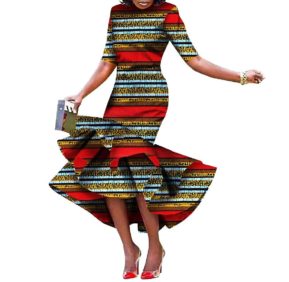 9 Cobama Womens Fishtail Floral African Print Bodycon Long Short Sleeve Dress