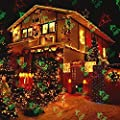 Christmas Laser Lights, TOFU Waterproof LED Red and Green Star Motion Fairy Shower Magic Landscape Projection Lighting Slide Show Projector for Outdoor Outside House Holidays Xmas Decoration(Silver)