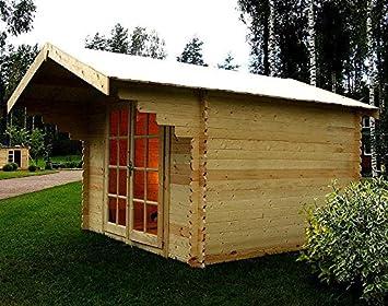 Holzhaus Bremen gartenhaus bremen blockhaus 300x300cm 90cm vordach 28mm gartenlaube