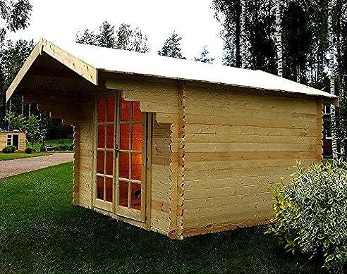 Blockhaus Gartenhaus. Gartenhaus X M Vordach Und Garage Blockhaus