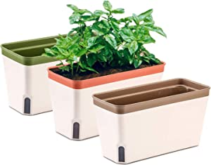 MOHENA 10.5 Inch Self Watering Planter Pot Rectangle, Plastic Plant Pot with Visual Water Level Window Indoor Decorative Garden Flower Pot for Aloe Herb Succulent Plants - Multi Color Set of 3