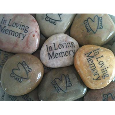 Memory Stones with Heart and Angel Wings (Set of 25) - Funeral Favors or Gifts, in Loving Memory Engraved Rocks. for Celebration of Life or Memorial Service.: Health & Personal Care