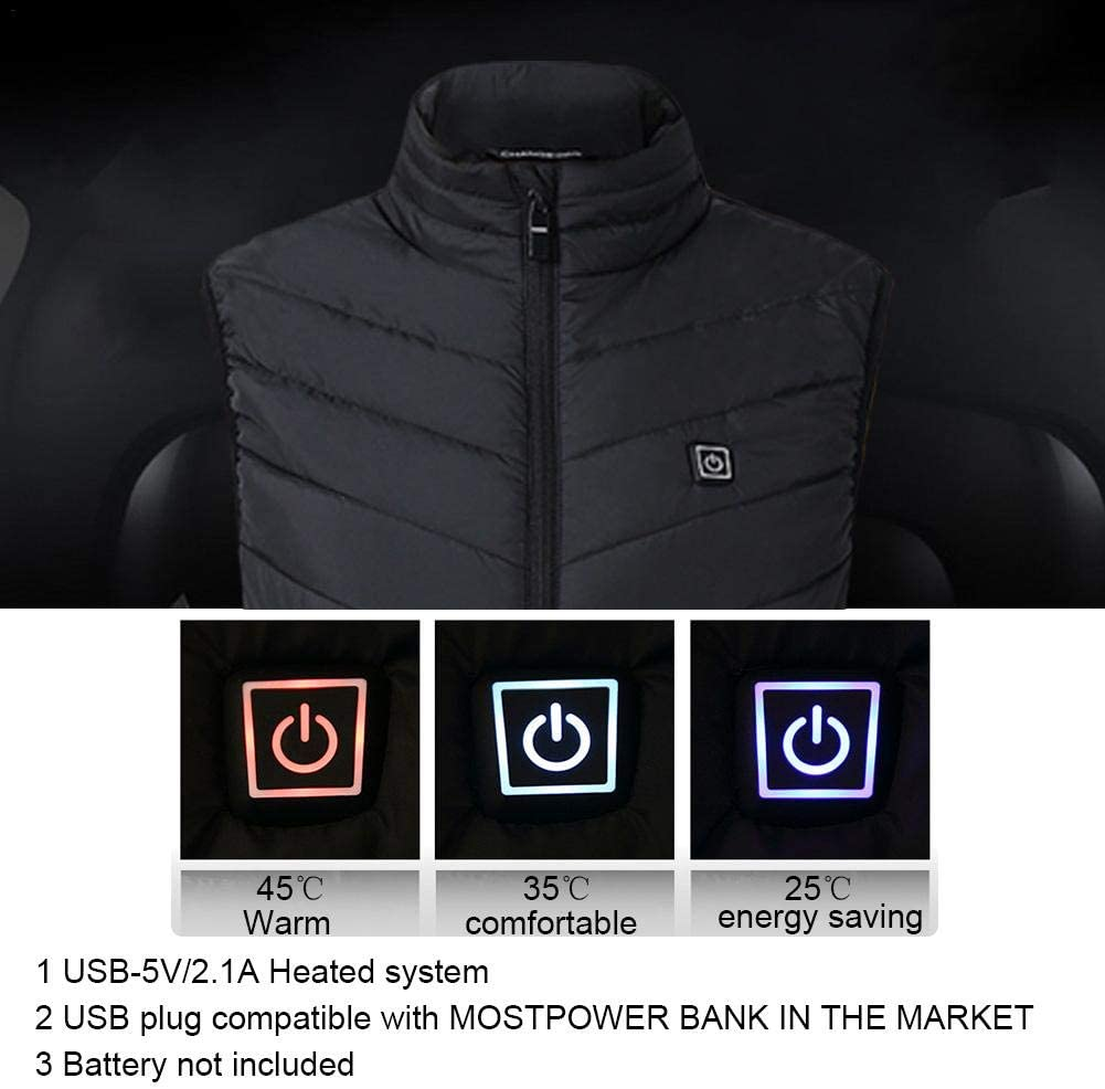 USB Temperature Adjustable Heated Body Warmer Dow Vest Electric Heated Vest Warming Unisex Jacket Heat Insulate Waistcoat For Outdoor Camping,Cycling Skiing