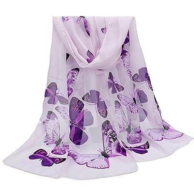 ADESHOP Mousseline Nouvelle Mode ÉCharpe Femmes Papillon Imprimer Neck ChâLe ÉCharpe Warm Wrap ÉTole Femmes LéGer Mince Doux Protection UV Foulards DifféRentes Couleurs