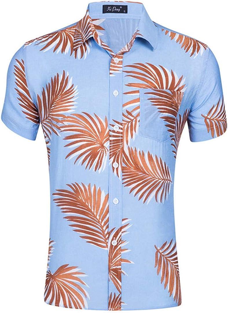 TEMPARFIUQ Mens Hawaiian Shirt New Summer Floral Printed Shirts Men Short