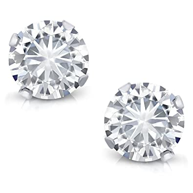b8be475ad Amazon.com: Charles & Colvard Forever Classic 0.66 Cttw DEW Moissanite  Women's Stud Earrings 14K White Gold: Jewelry