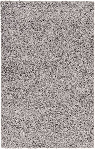 id Shag Collection Modern Plush Cloud Gray Rectangle (5' x 8') ()