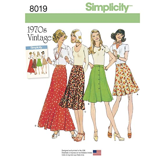 1960s – 70s Sewing Patterns- Dresses, Tops, Pants Simplicity Sewing Pattern S0980 / 8019 - Misses Vintage 1970s Skirts Size : U5 (16-18-20-22-24) $9.99 AT vintagedancer.com