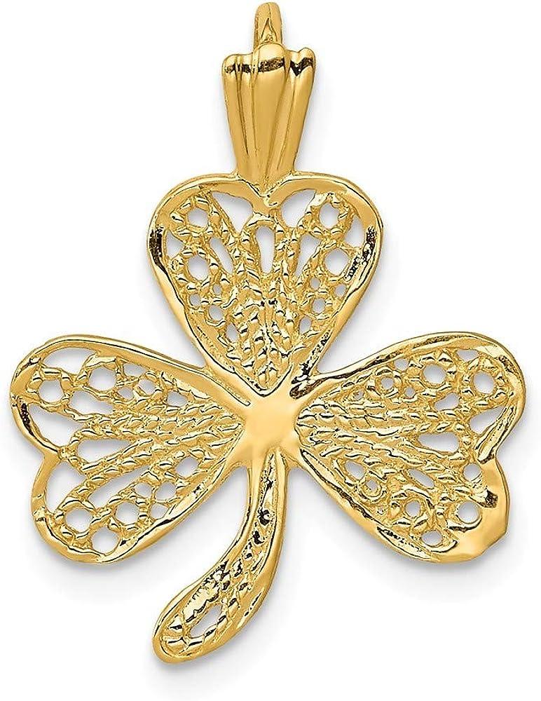 14k Yellow Gold Filigree Shamrock Pendant Necklace