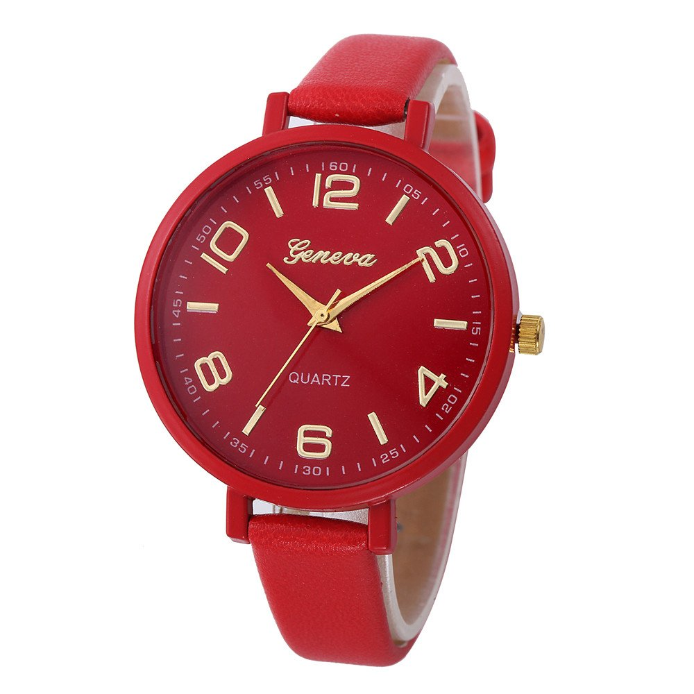 Wrist Watches for Men, Women Casual Checkers Faux Leather Quartz Analog Wrist Watch,Sports Fan Jewelry & Watches,Red,Women Watches