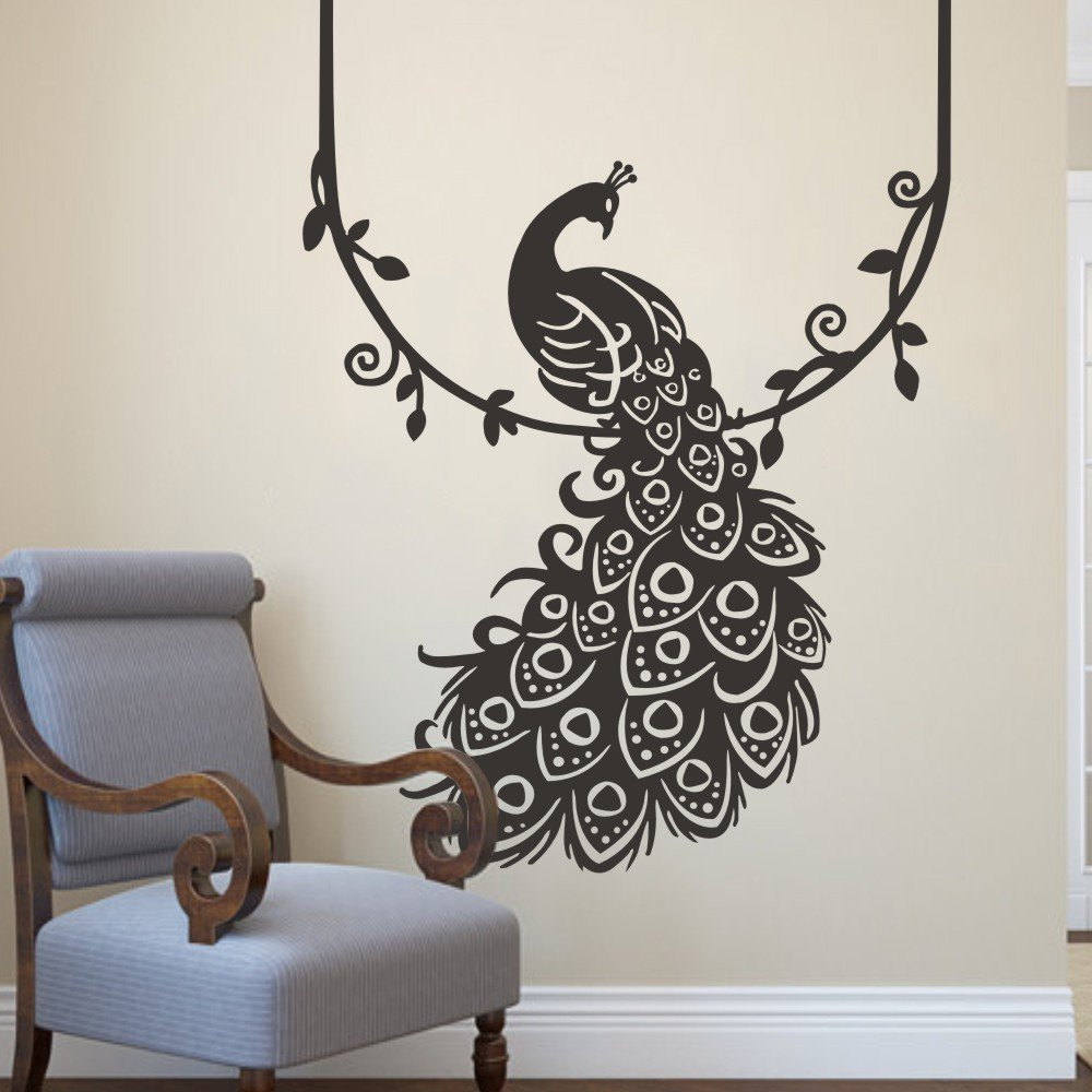 Vinyl peacock wall decal animal wall decal bird wall decal peafowl vinyl peacock wall decal animal wall decal bird wall decal peafowl art wall stickers wall graphic wall mural bedroom wall decoration custom amazon amipublicfo Image collections