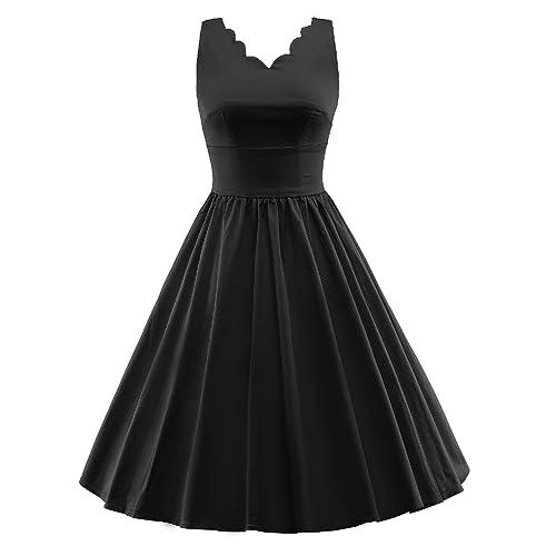 HongyuTing 1950s Audrey Hepburn style vintage Sleeveless Party Swing Dress