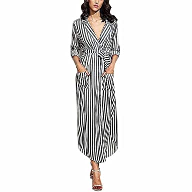 HODOD Casual Black Striped Deep V Neck Long Sleeve Long Maxi Dress with  Waistband and Pockets d7b74c9caeda