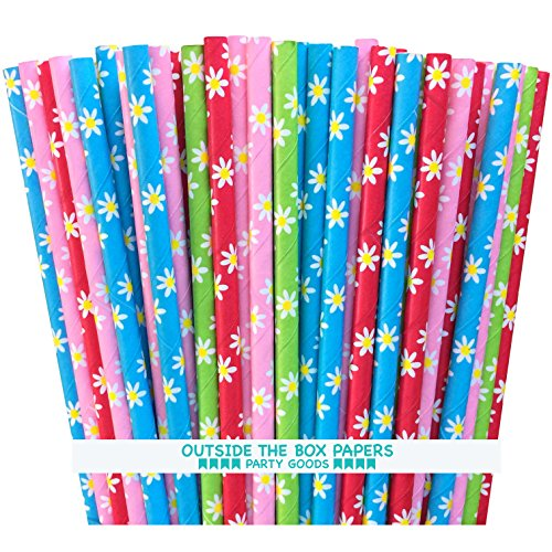 (Outside the Box Papers Daisy Pattern Paper Straws 7.75 Inches 100 Pack Red, Blue, Yellow, Green, Pink, White)