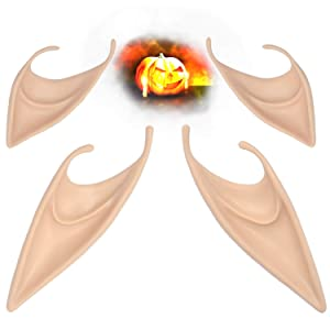 Elf Ears - Two Pairs of Fairy Pixie Soft Latex Elf Ears for Halloween Christmas Cosplay Dress Parties (Light Skin)