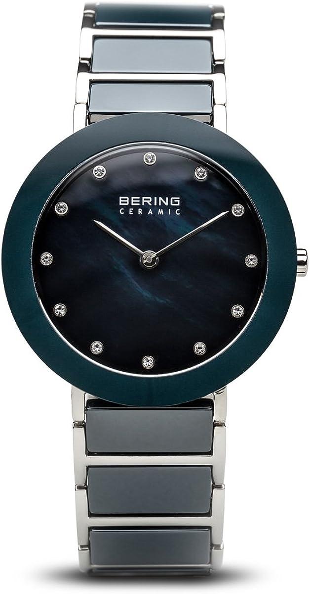 Bering - Reloj de pulsera analógico para mujer, cuarzo, acero inoxidable