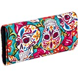 Pretty Sugar Skulls & Flower Cotton Tri Fold Clutch Wallet (Turquoise Festive)